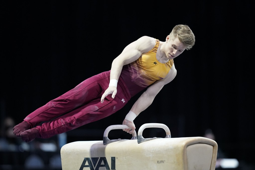 Shane Wiskus, representing the University of Minnesota, competes during the Winter Cup gymnastics event Friday, Feb. 26, 2021, in Indianapolis. The Un...