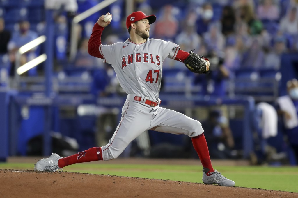 Los Angeles Angels starting pitcher Griffin Canning throws against the Toronto Blue Jays during the third inning of a baseball game Thursday, April 8,...