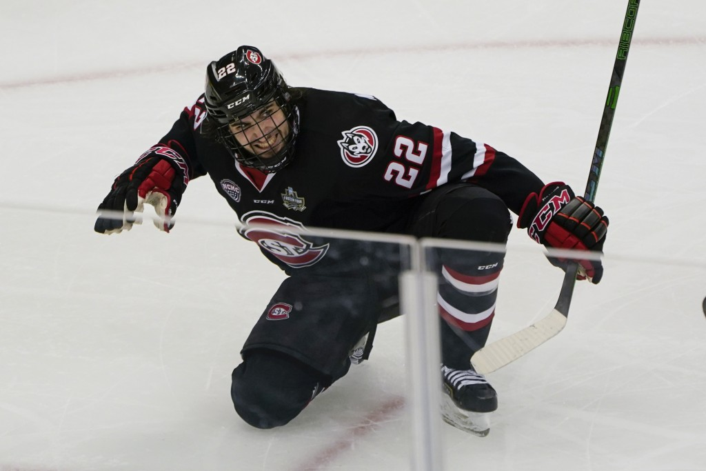 St. Cloud State's Joe Molenaar (22) celebrates after scoring the tying goal against Minnesota State during the third period of an NCAA men's Frozen Fo...