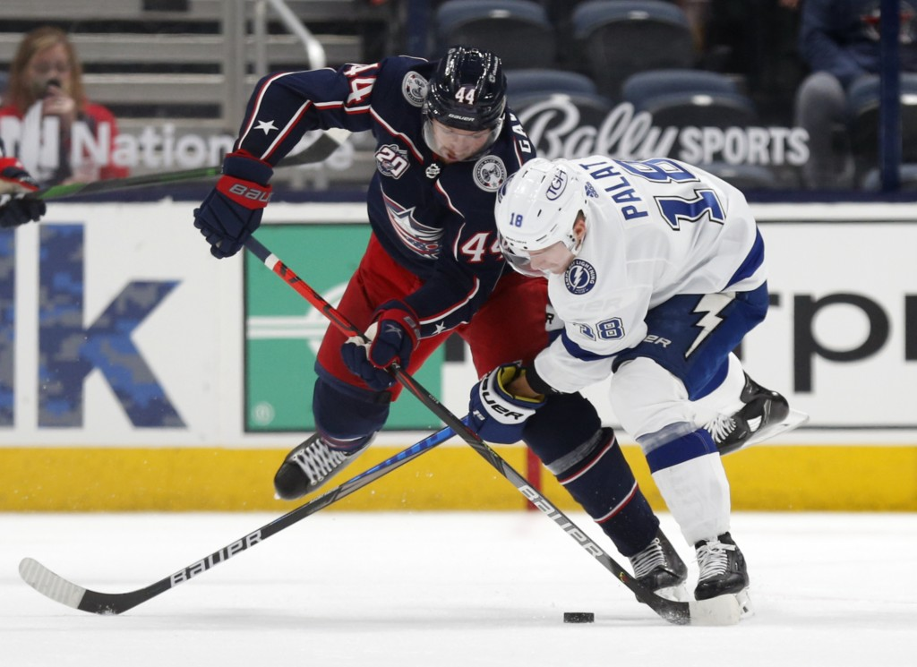 Columbus Blue Jackets defenseman Vladislav Gavrikov, left, and Tampa Bay Lightning forward Ondrej Palat work for the puck during the second period of ...