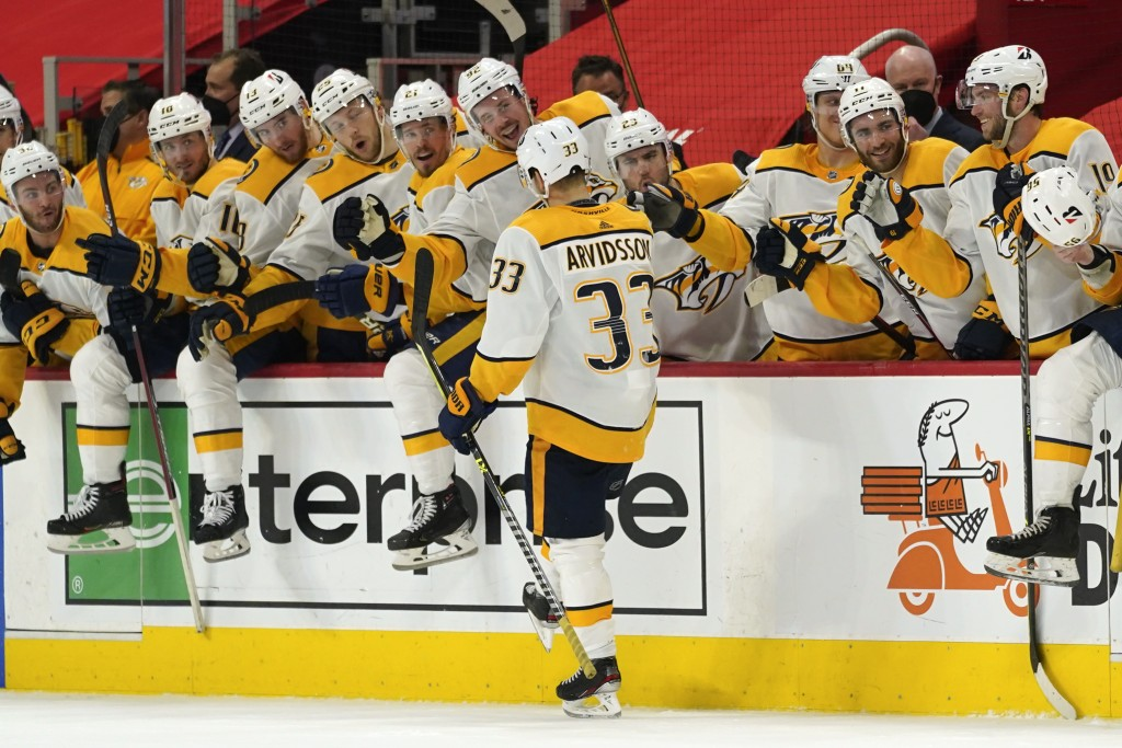 Nashville Predators right wing Viktor Arvidsson (33) celebrates scoring on a penalty shot against the Detroit Red Wings in the third period of an NHL ...