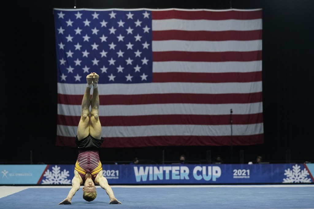 Shane Wiskus, representing the University of Minnesota, competes during the Winter Cup gymnastics event Sunday, Feb. 28, 2021, in Indianapolis. The Un...