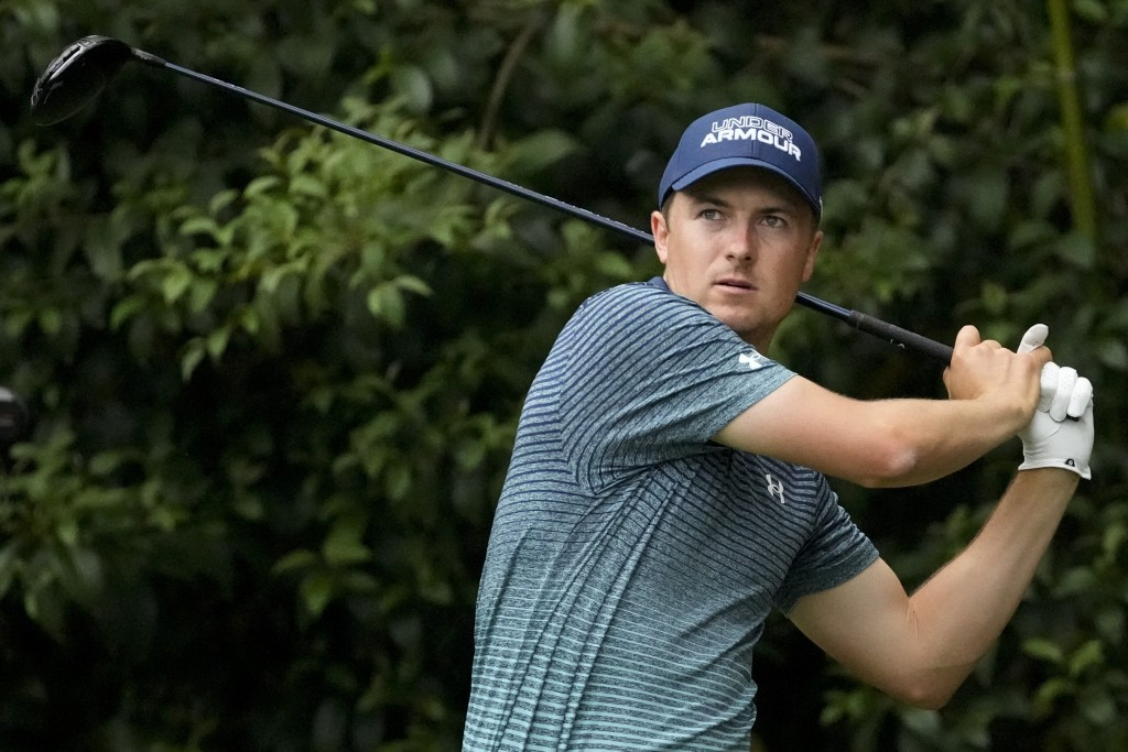 Jordan Spieth watches his drive on the 14th tee during the first round of the Masters golf tournament on Thursday, April 8, 2021, in Augusta, Ga. (AP ...