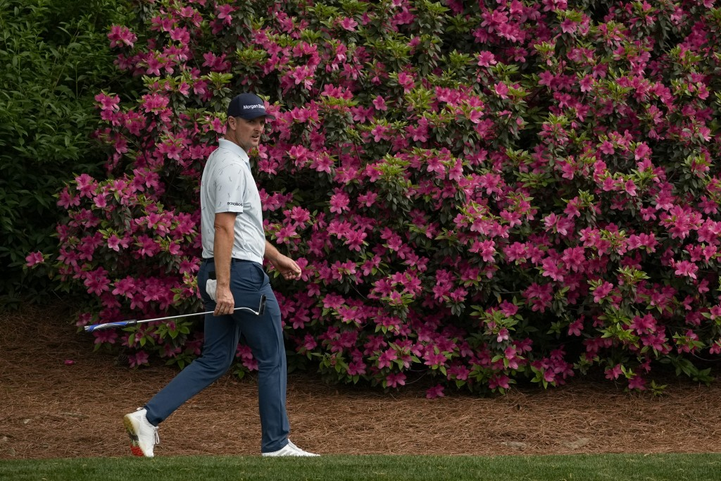 Justin Rose, of England, walks on the 12th hole during the first round of the Masters golf tournament on Thursday, April 8, 2021, in Augusta, Ga. (AP ...