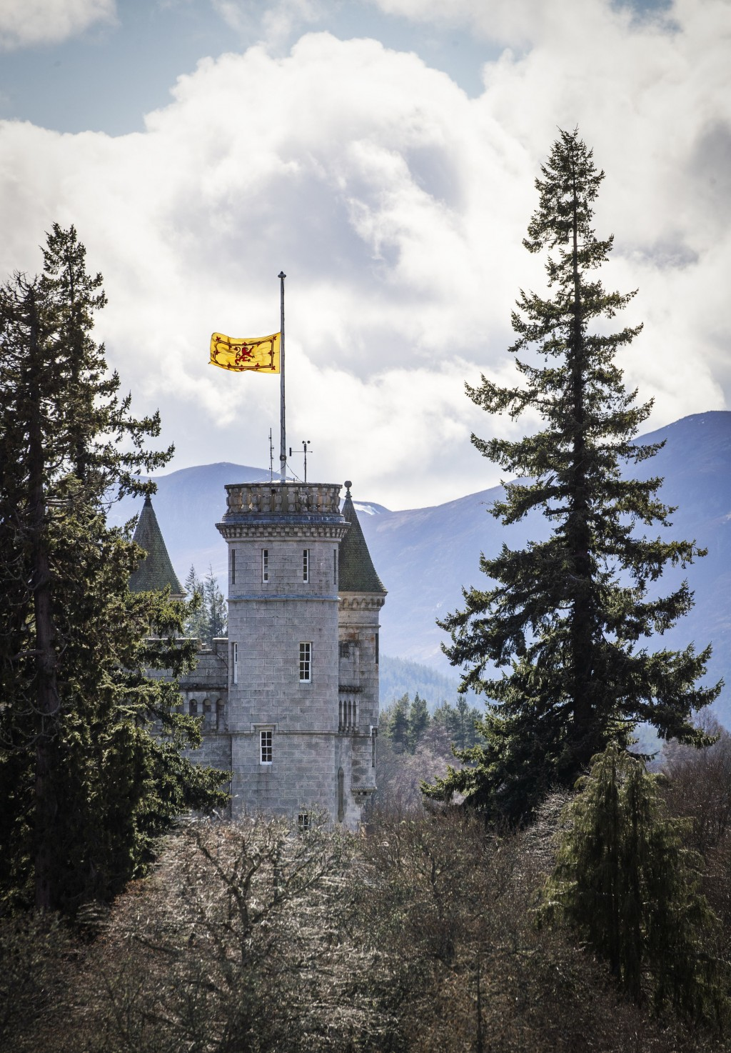 The Lion rampant flies at half mast at Balmoral Castle following the announcement of the death of Britain's Prince Philip, in Aberdeenshire, Scotland,...