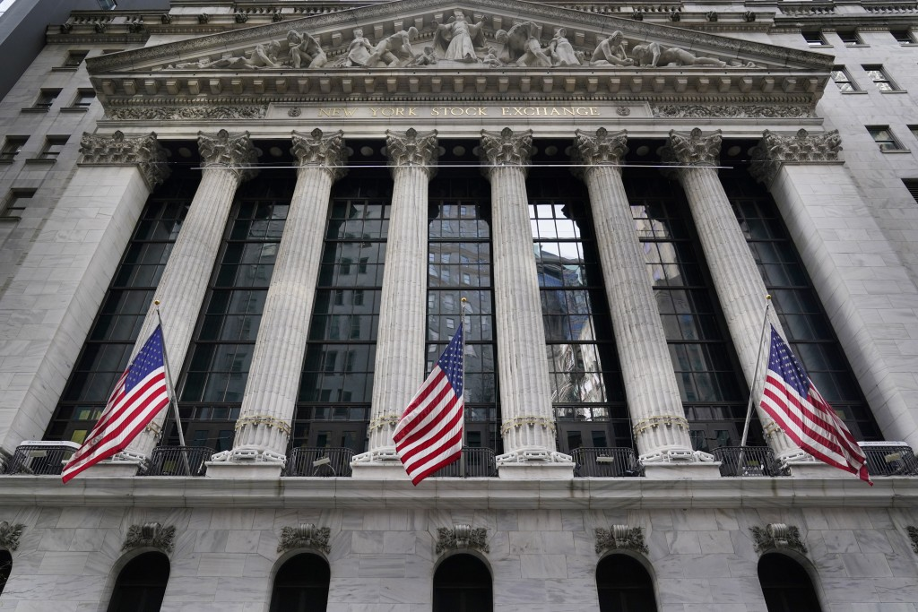 FILE - The New York Stock Exchange is seen in New York, Monday, Nov. 23, 2020. Stocks were moderately higher in early trading Thursday, April 8, 2021,...
