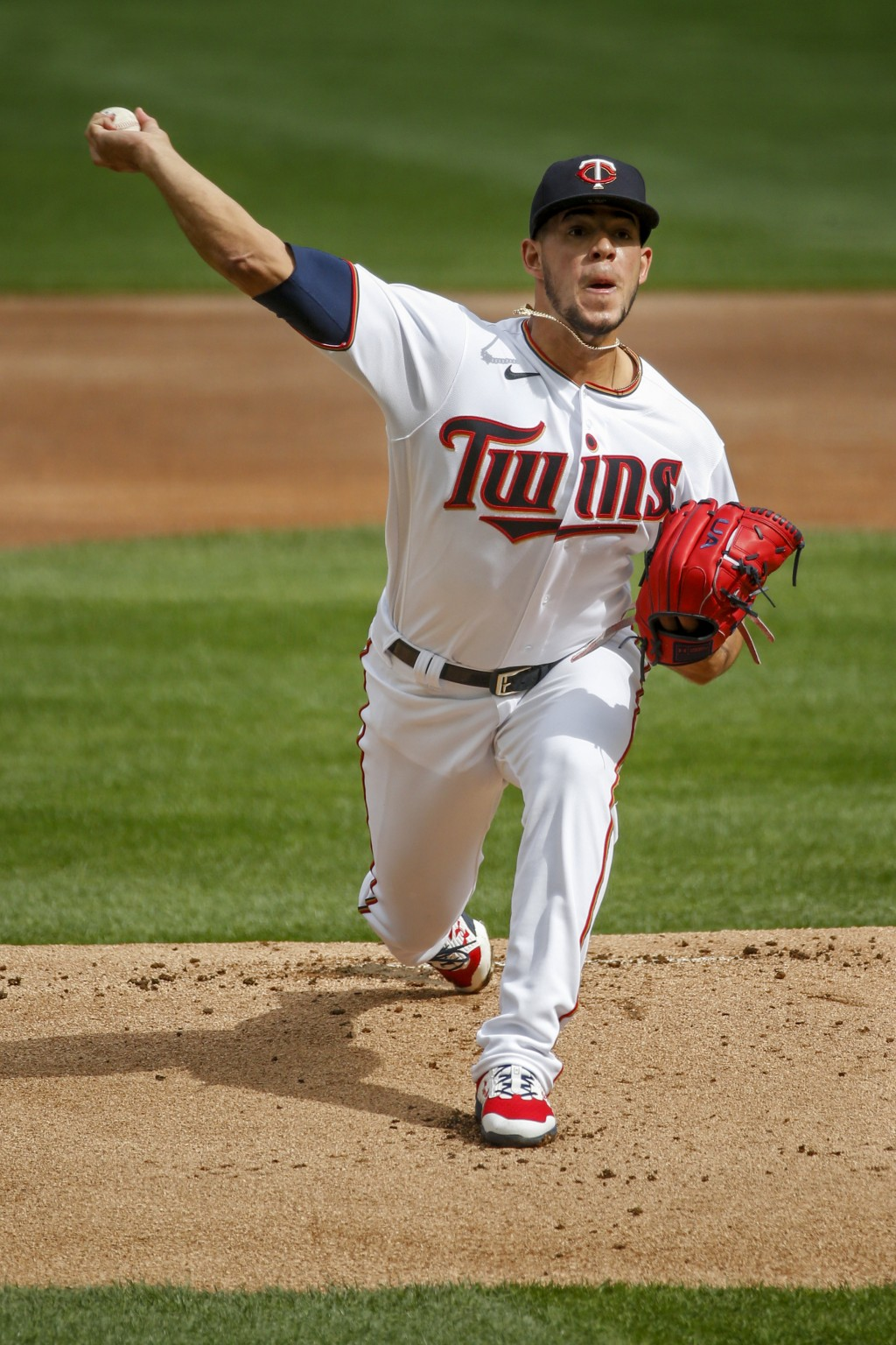 Minnesota Twins' Jose Berrios throws to the Seattle Mariners in the first inning of a baseball game Thursday, April 8, 2021, in Minneapolis. (AP Photo...
