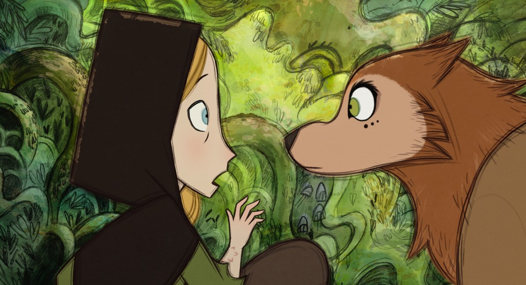 """This image released by Apple shows Robyn Goodfellowe, voiced by Honor Kneafsey, left, and Mebh Óg Mactíre, voiced by Eva Whittaker, in """"Wolfwalkers."""" ..."""