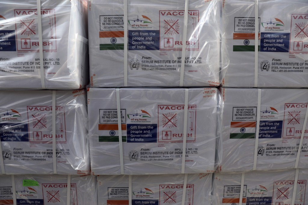 FILE - In this Feb. 7, 2021, file photo, boxes of the first shipment of 500,000 doses of the AstraZeneca coronavirus vaccine made by Serum Institute o...