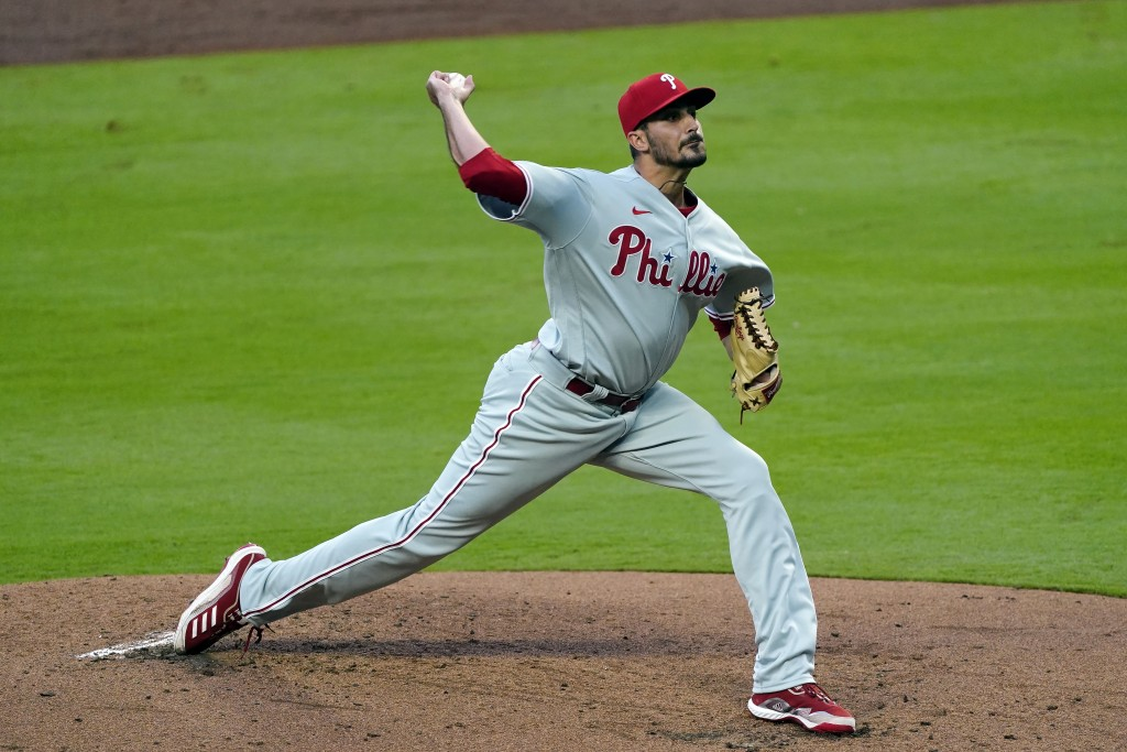Philadelphia Phillies starting pitcher Zach Eflin (56) works against the Atlanta Braves in the first inning of a baseball game Saturday, April 10, 202...