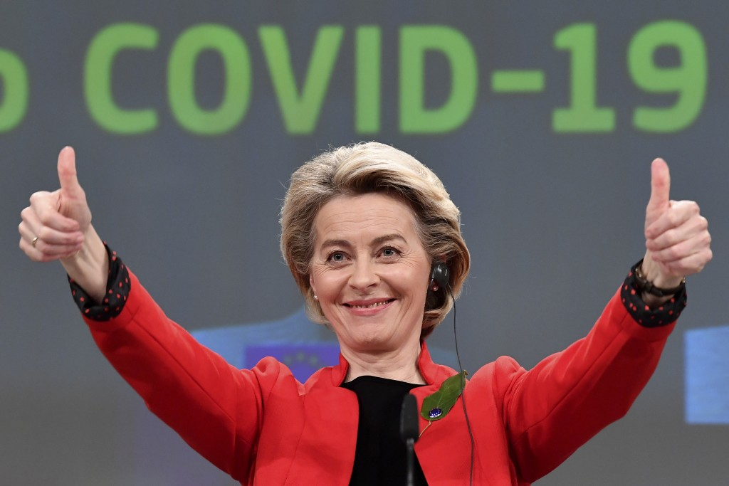 FILE - In this March 17, 2021, file photo, European Commission President Ursula von der Leyen gestures after participating in a media conference on th...