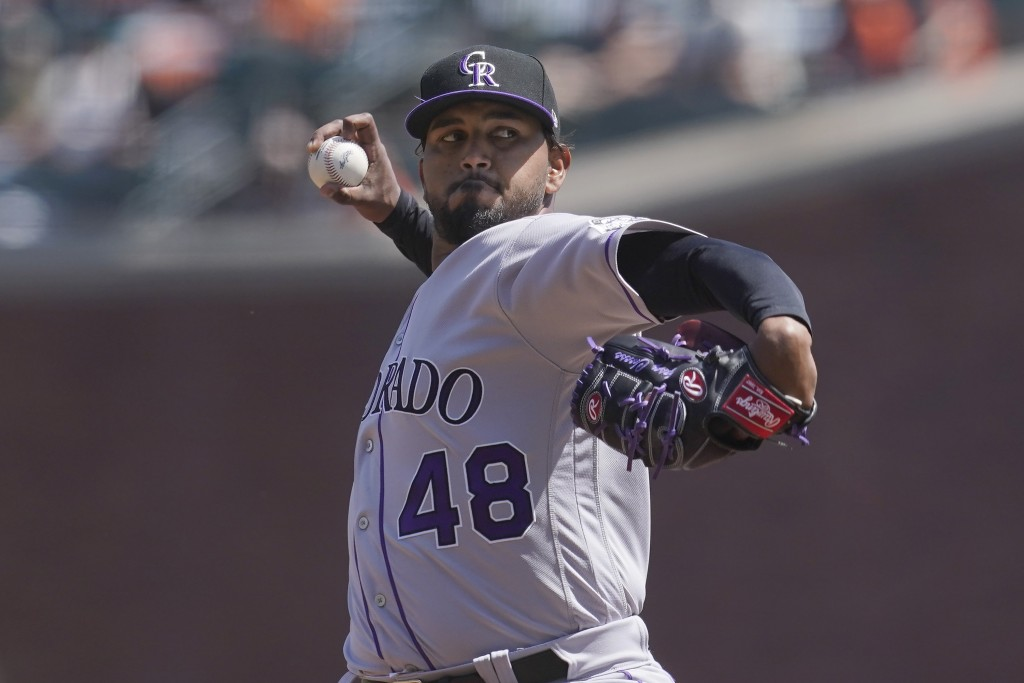 Colorado Rockies pitcher German Marquez (48) throws against the San Francisco Giants during the second inning of a baseball game in San Francisco, Sun...