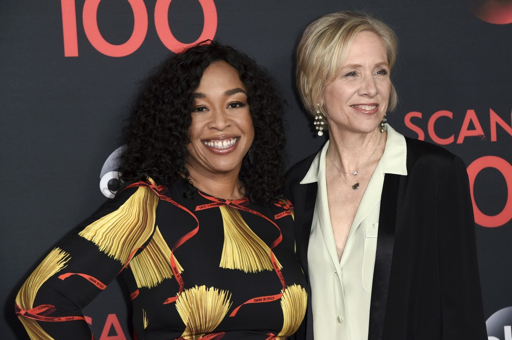 """FILE - Producers Shonda Rhimes, left, and Betsy Beers attend the """"Scandal"""" 100th Episode Celebration on April 8, 2017, in West Hollywood, Calif. Rhime..."""