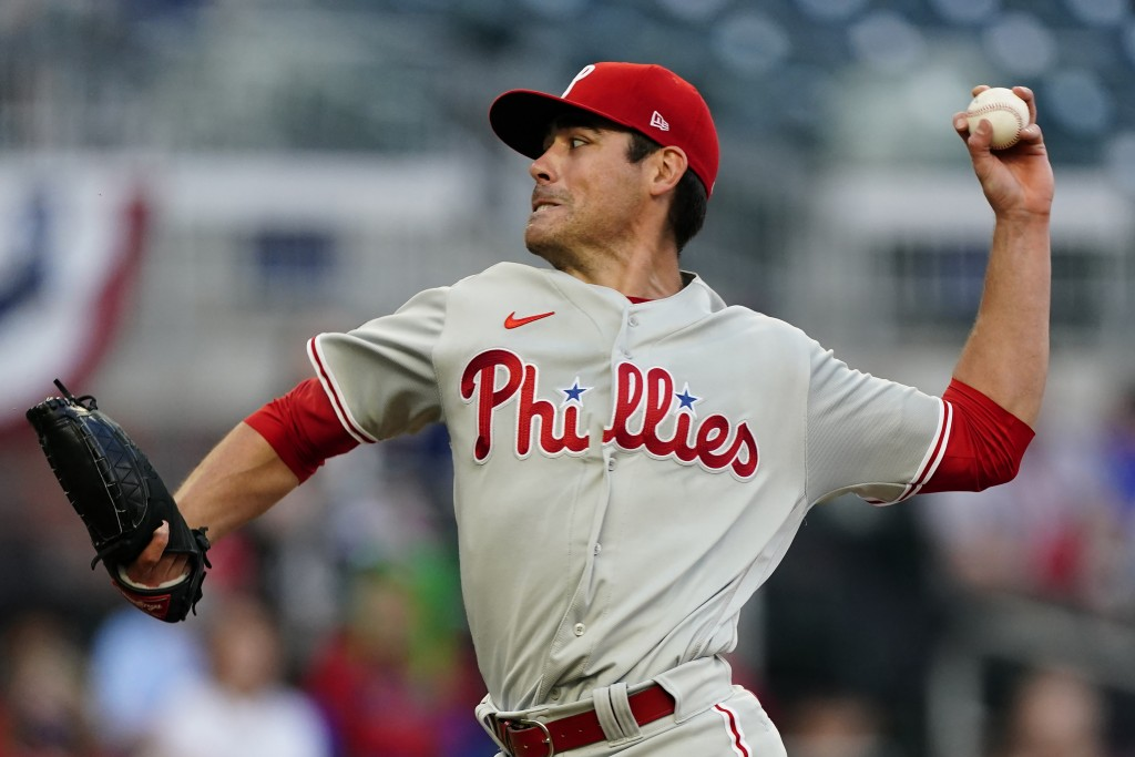 Philadelphia Phillies starting pitcher Matt Moore delivers in the first inning of a baseball game against the Atlanta Braves, Sunday, April 11, 2021, ...