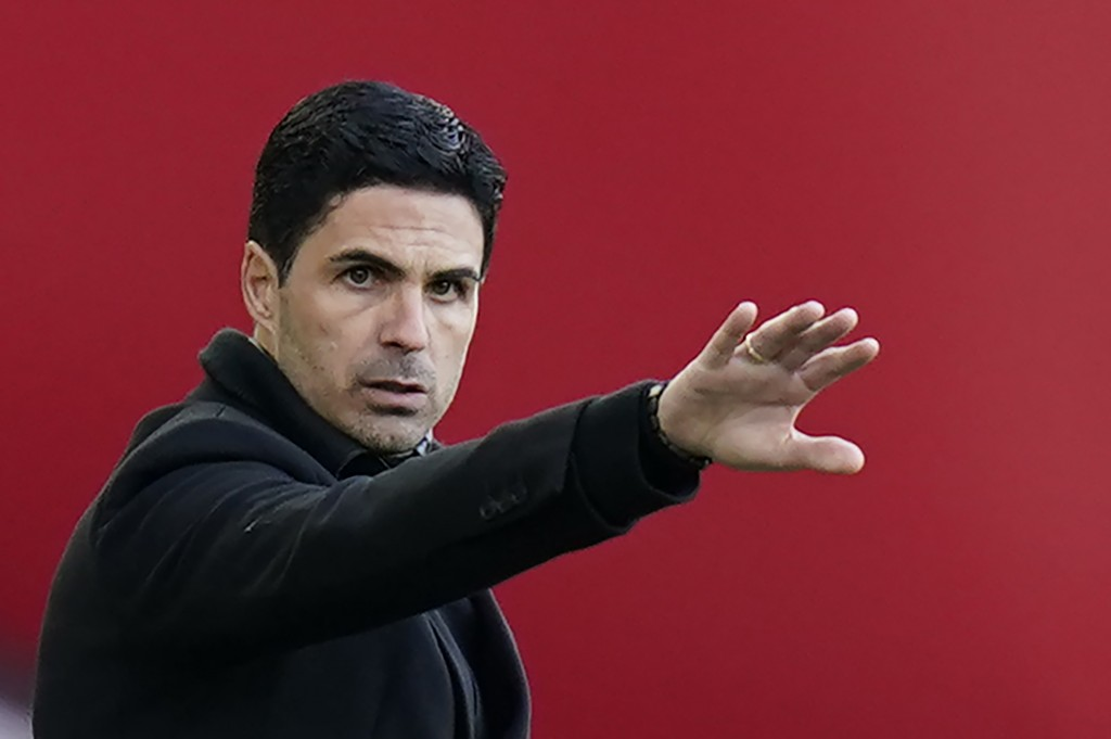 Arsenal's manager Mikel Arteta gestures during an English Premier League soccer match between Sheffield United and Arsenal at the Bramall Lane stadium...