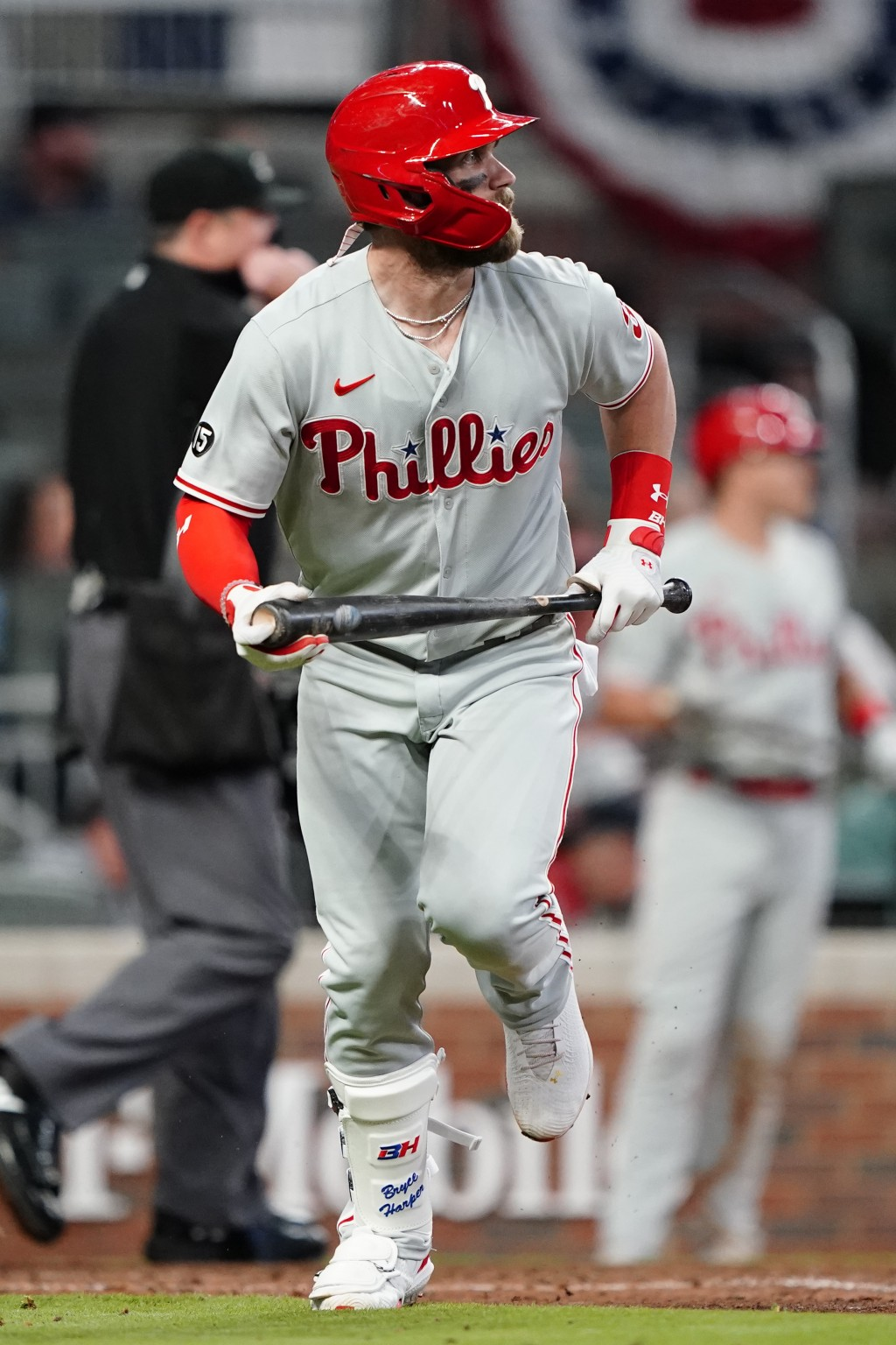 Philadelphia Phillies' Bryce Harper (3) runs to first after hitting a home run in the sixth inning of a baseball game against the Atlanta Braves Sunda...