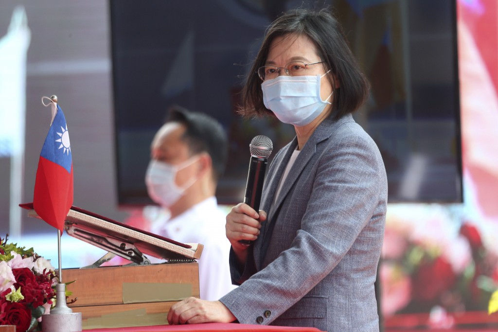 Taiwan's President Tsai Ing-wen delivers a speech during a launch ceremony for its first indigenous amphibious transport dock in Kaohsiung, southern T...