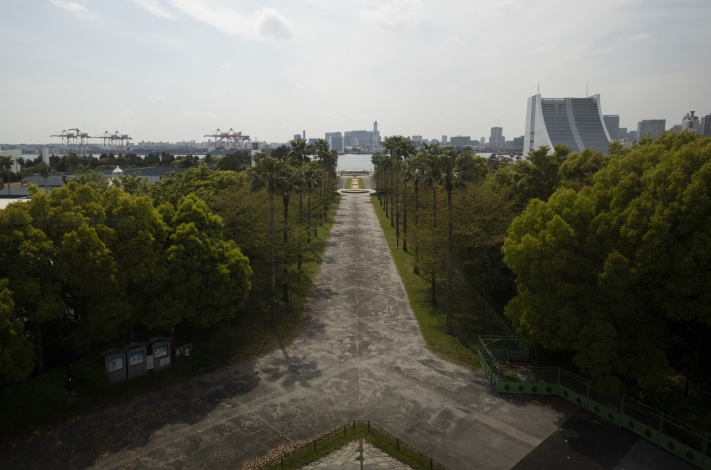 This photo shows part of the Shiokaze Park, planned to be used for the postponed Tokyo 2020 Olympic Games, in Tokyo Thursday, April 8, 2021. Many prep...