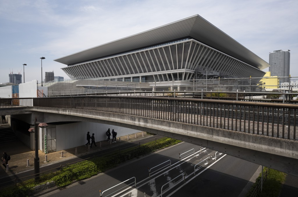 Tokyo Aquatics Centre, where swim trials were being held for Japan's Olympic team, in Tokyo Thursday, April 8, 2021. The aquatics center is also a pla...