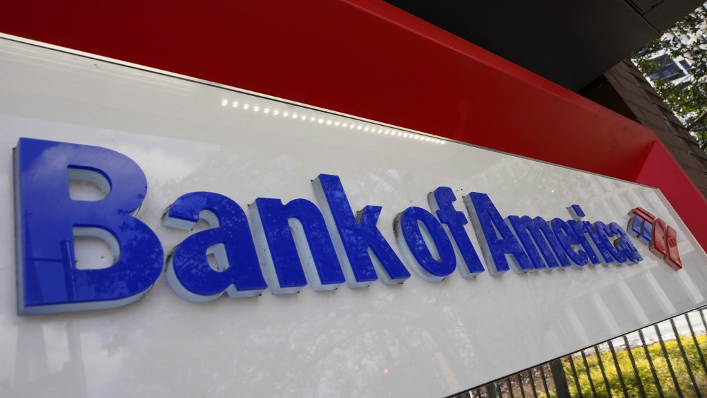 Bank of America signage is shown Wednesday, Feb. 10, 2021, in Atlanta.   The nation's largest banks are expected to report big profits for the first q...