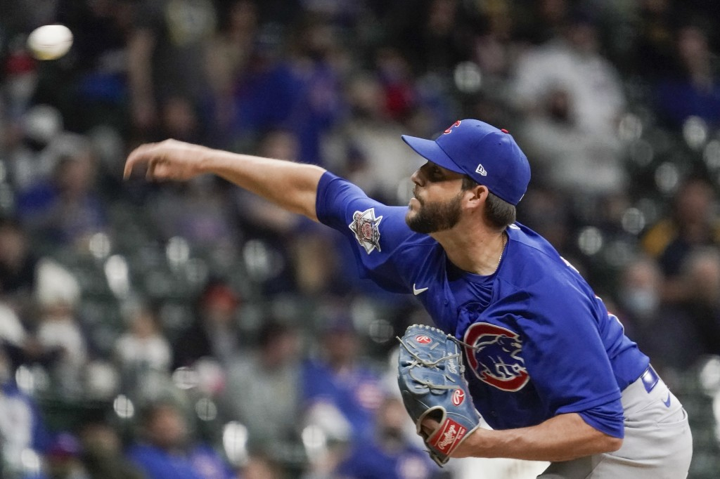 Chicago Cubs relief pitcher Ryan Tepera throws during the fifth inning of a baseball game against the Milwaukee Brewers Tuesday, April 13, 2021, in Mi...