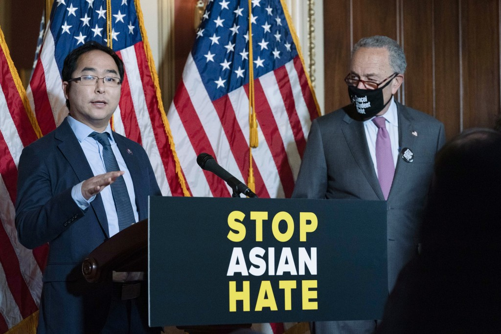 Rep. Andy Kim, D-N.J., accompanied by Senate Majority Leader Chuck Schumer, D-N.Y., speaks during a news conference on Capitol Hill, in Washington, Tu...