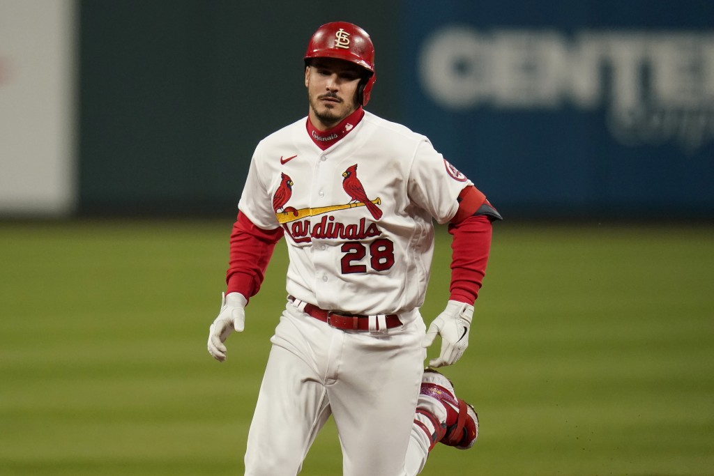 St. Louis Cardinals' Nolan Arenado rounds the bases after hitting a two-run home run during the third inning of a baseball game against the Washington...