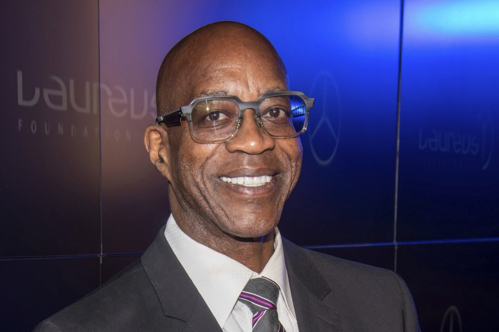 FILE - Edwin Moses attends the Laureus Fashion Show Gala in  New York, in this Sept. 10, 2019, file photo. Just to hear chatter in the nation's capita...