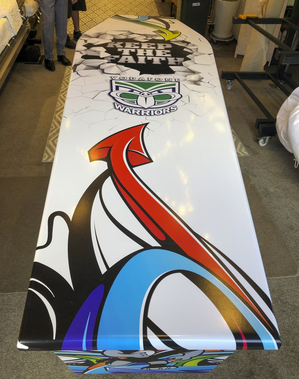 This photo provided by Ross Hall, shows a casket in the colors of the New Zealand Warriors rugby league team in Auckland, New Zealand  June 15, 2019. ...