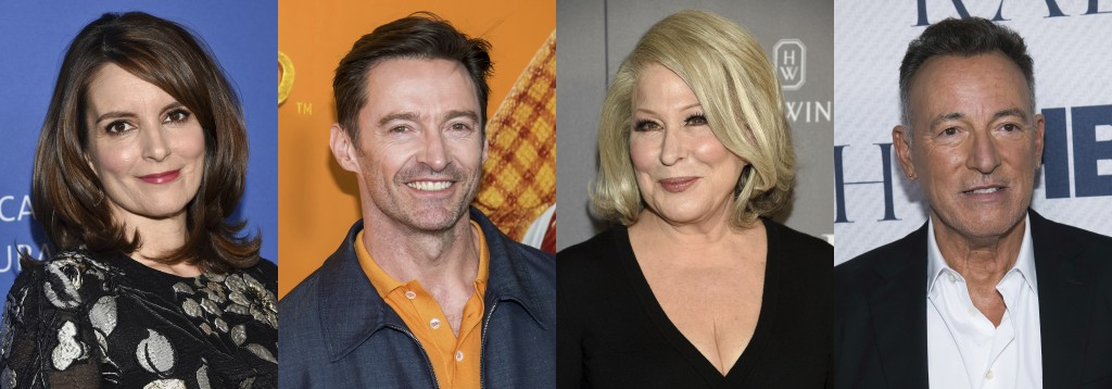 This combination photo shows Tuna Fey, Hugh Jackman, Bette Midler and Brice Springsteen, who have raided their closets to offer up personal items for ...