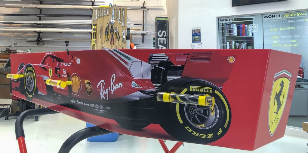 This photo provided by Ross Hall a casket in the design of a Ferrari F1 car in in Auckland, New Zealand on Dec 10, 2018. Auckland company Dying Art ma...