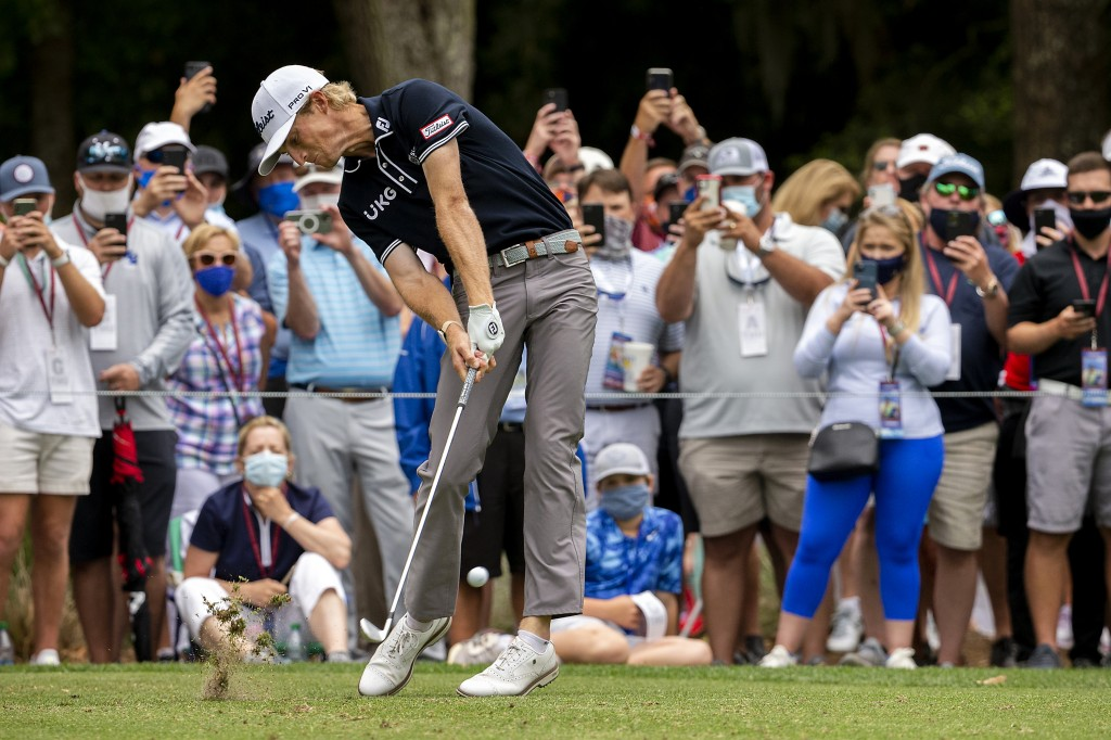 Will Zalatoris hits from the ninth tee during the first round of the RBC Heritage golf tournament in Hilton Head Island, S.C., Thursday, April 15, 202...
