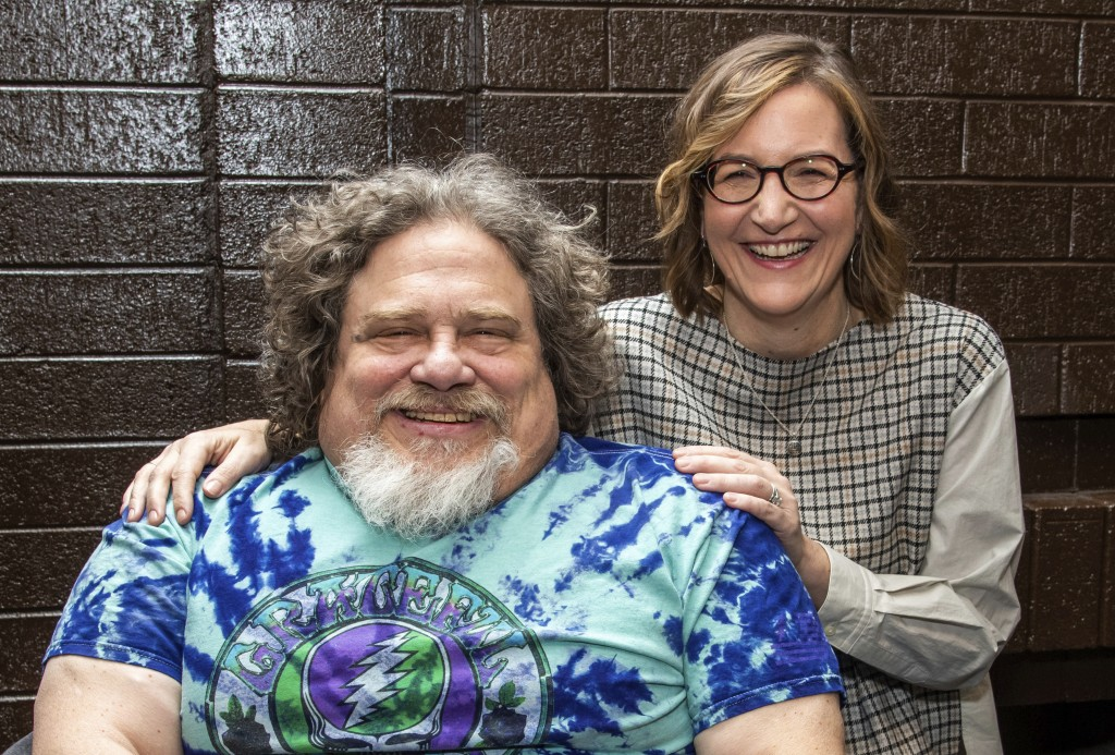 """FILE - Co-directors Jim LeBrecht, left, and Nicole Newnham from the documentary """"Crip Camp"""" are seen during the Sundance Film Festival on Jan. 24, 202..."""