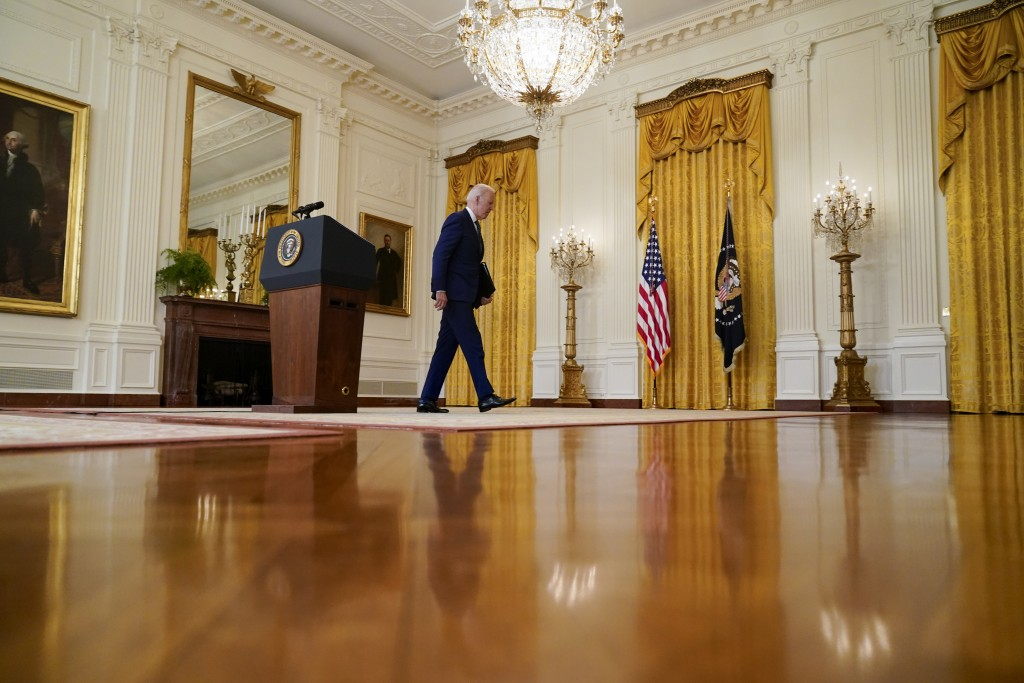 President Joe Biden leaves after speaking about Russia in the East Room of the White House, Thursday, April 15, 2021, in Washington. (AP Photo/Andrew ...