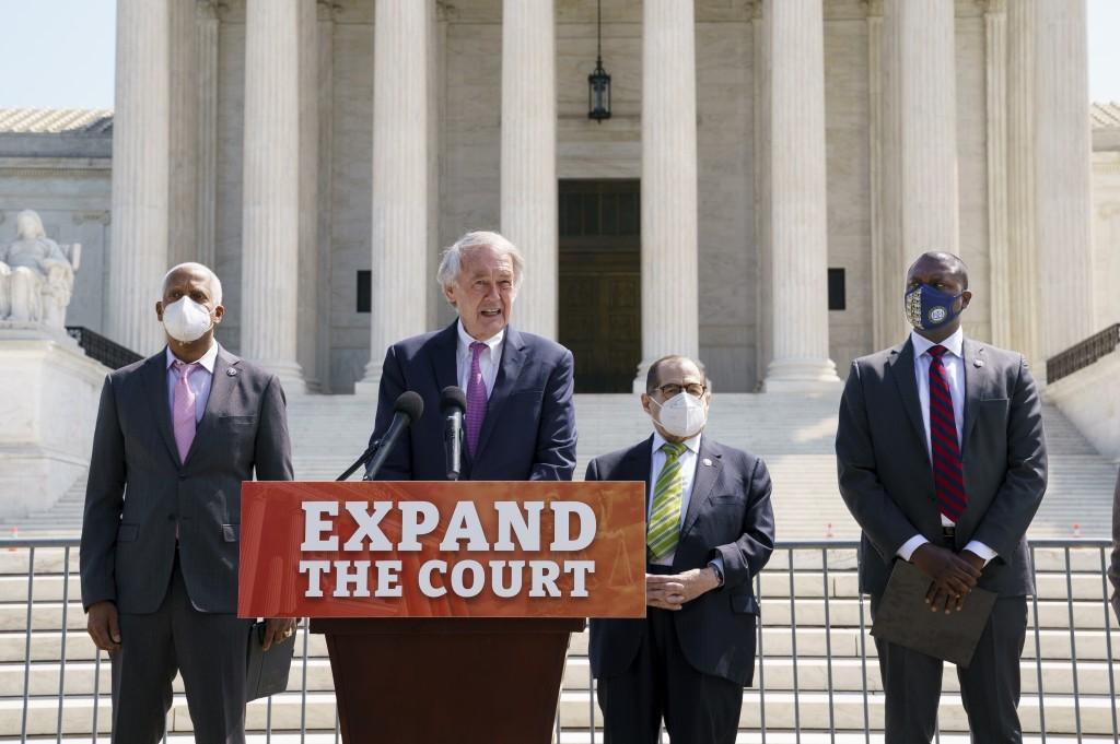 From left, Rep. Hank Johnson, D-Ga., Sen. Ed Markey, D-Mass., House Judiciary Committee Chairman Jerrold Nadler, D-N.Y., and Rep. Mondaire Jones, D-N....