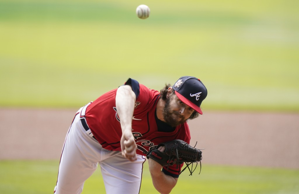 Atlanta Braves starting pitcher Ian Anderson delivers in the first inning of a baseball game against the Miami Marlins on Thursday, April 15, 2021, in...