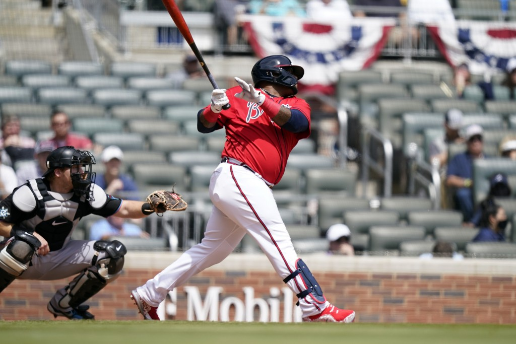 Atlanta Braves' Pablo Sandoval (48) hits a home run in the sixth inning of a baseball game against the Miami Marlins, Thursday, April 15, 2021, in Atl...