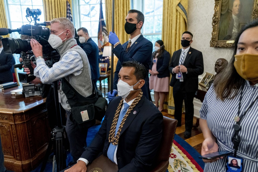 Rep. Kaiali'i Kahele, D-Hawaii, attends a meeting with President Joe Biden and other members of the Congressional Asian Pacific American Caucus Execut...