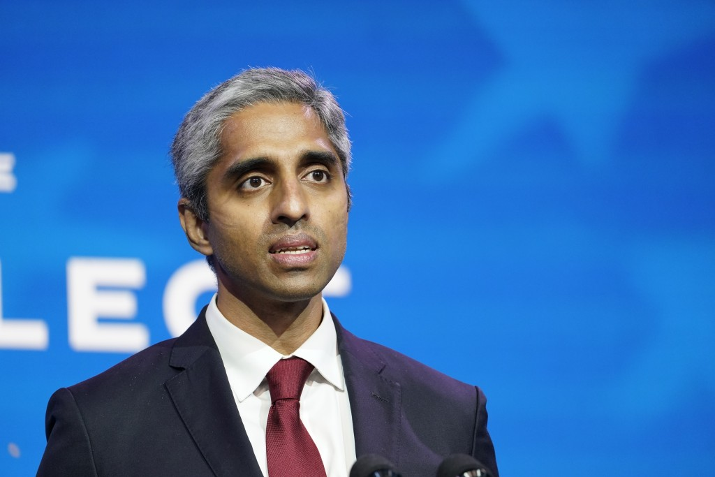 FILE - In this Dec. 8, 2020, file photo Dr. Vivek Murthy, who has been nominated to be U.S. Surgeon General speaks during an event at The Queen theate...