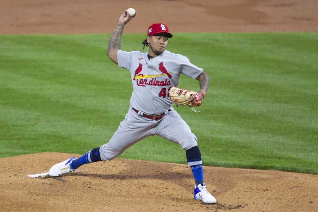 St Louis Cardinals pitcher Carlos Martinez throws during the first inning of the team's baseball game against the Philadelphia Phillies, Friday, April...