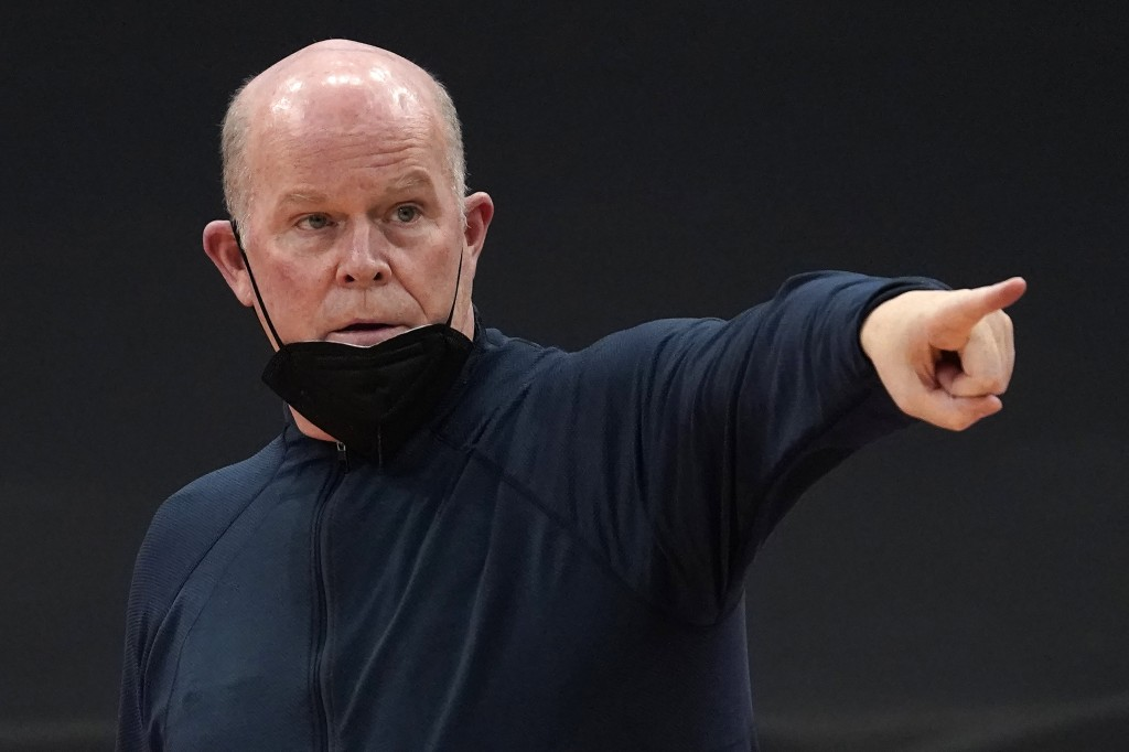 Orlando Magic head coach Steve Clifford calls a play during the second half of an NBA basketball game against the Toronto Raptors Friday, April 16, 20...