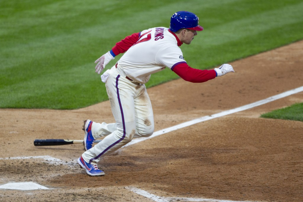Philadelphia Phillies' Rhys Hoskins (17) runs to first on a single during the fifth inning of a baseball game against the St. Louis Cardinals, Saturda...