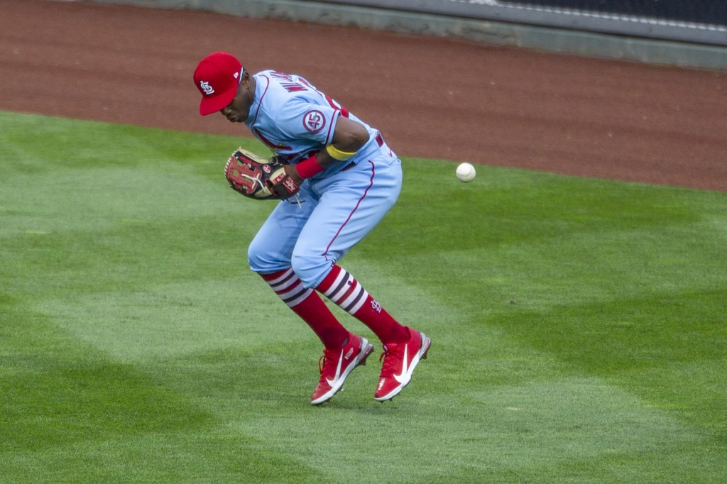 St. Louis Cardinals right fielder Justin Williams (26) misses a ball that went for a double during the third inning of a baseball game, Saturday, Apri...
