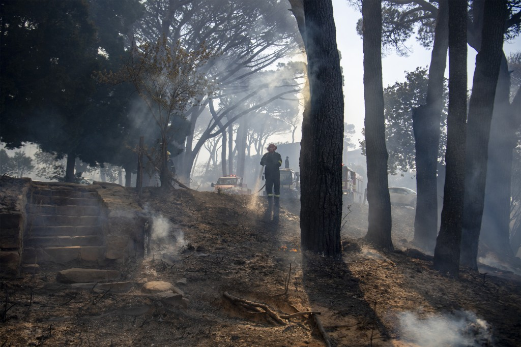 A fireman extinguishes a fire on the slopes of Table Mountain in Cape Town South Africa, Sunday, April 18, 2021. A wildfire raging on the slopes of th...