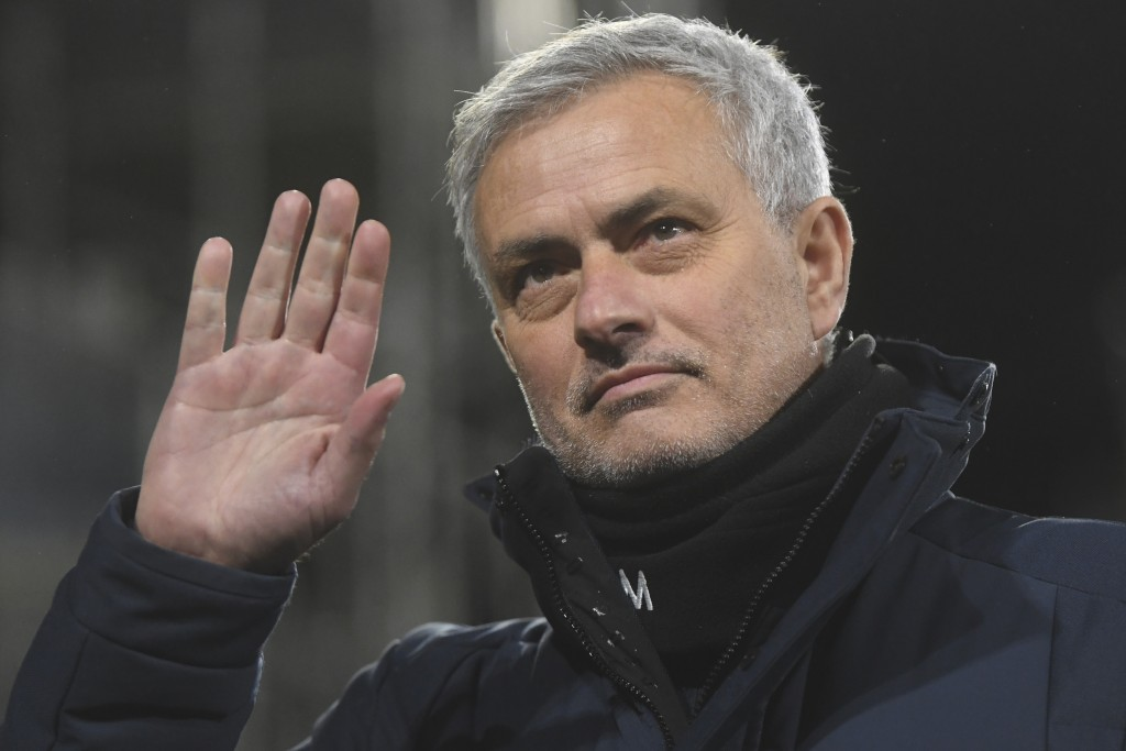 FILE - In this Thursday, March 4, 2021 file photo, Tottenham's manager Jose Mourinho waves during the English Premier League soccer match between Fulh...