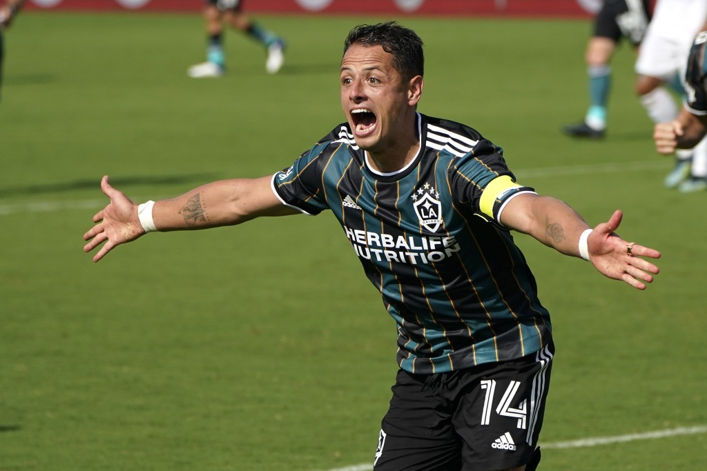 LA Galaxy forward Javier Hernandez (14) reacts after scoring a goal during the second half of an MLS soccer match against Inter Miami, Sunday, April 1...