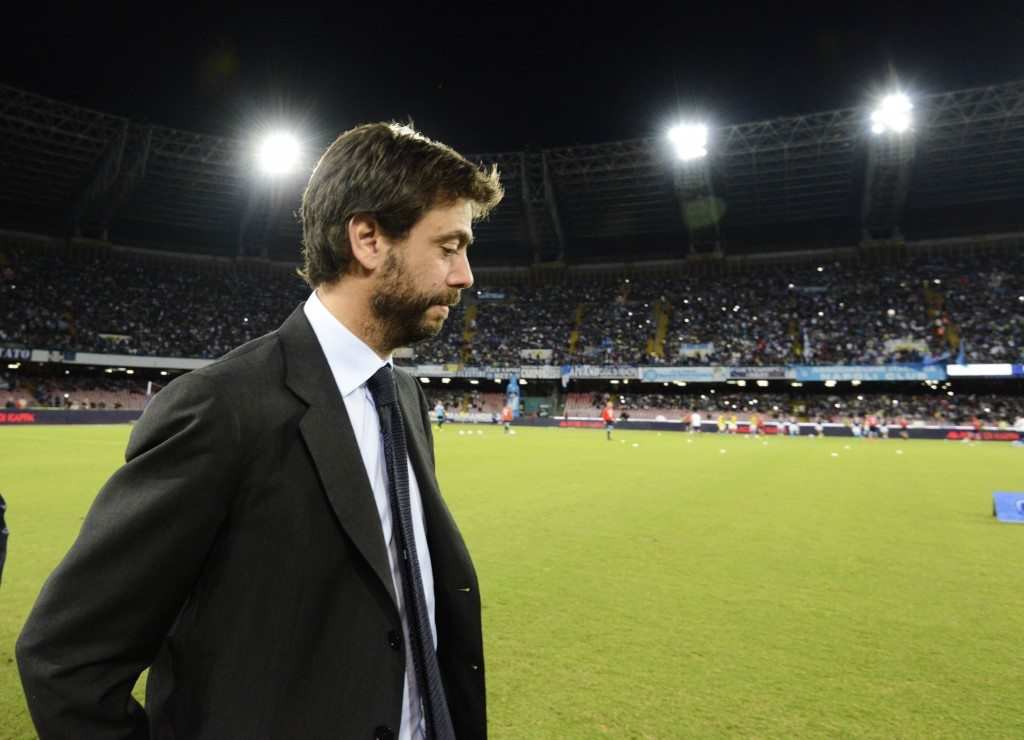 FILE - In this Sept. 26, 2015 file photo, Juventus President Andrea Agnelli arrives for a Serie A soccer match between Napoli and Juventus, at the San...