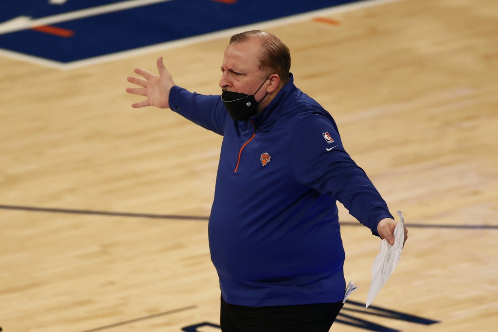 New York Knicks head coach Tom Thibodeau reacts to a call during the first half of an NBA basketball game against the New Orleans Pelicans on Sunday, ...