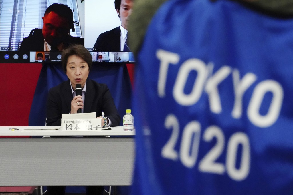 Tokyo 2020 Organizing Committee President Seiko Hashimoto delivers an opening remarks during Tokyo 2020 Organizing Committee, the Japanese Olympic Com...