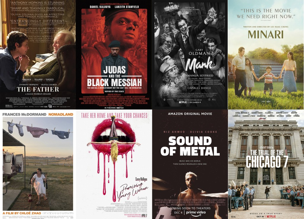 """This combination photo shows poster art for best picture Oscar nominees, top row from left, """"The Father,"""" """"Judas and the Black Messiah,"""" """"Mank,"""" """"Mina..."""